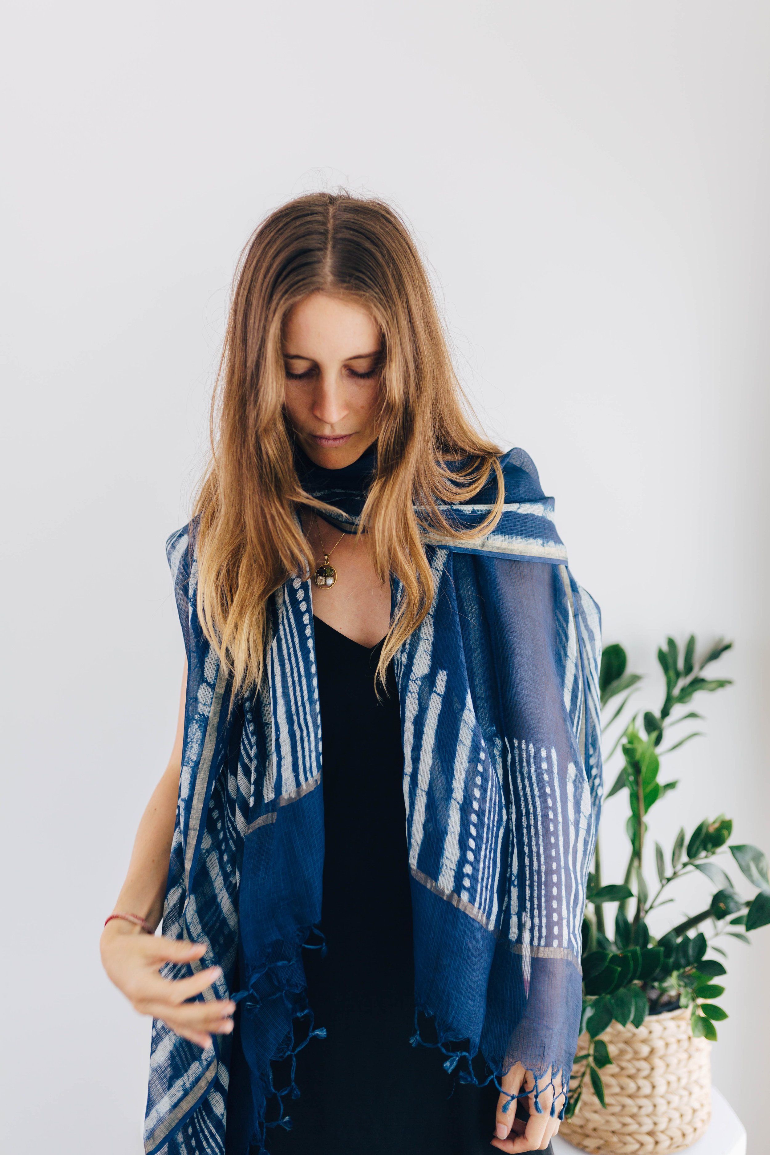 --- $100 gift ---- + Stunning pure silk indigo hand printed scarf from India with gold foiling (it's very long and wide - see next photo for details!) + Jasmine incense + Copper Tongue Scraper