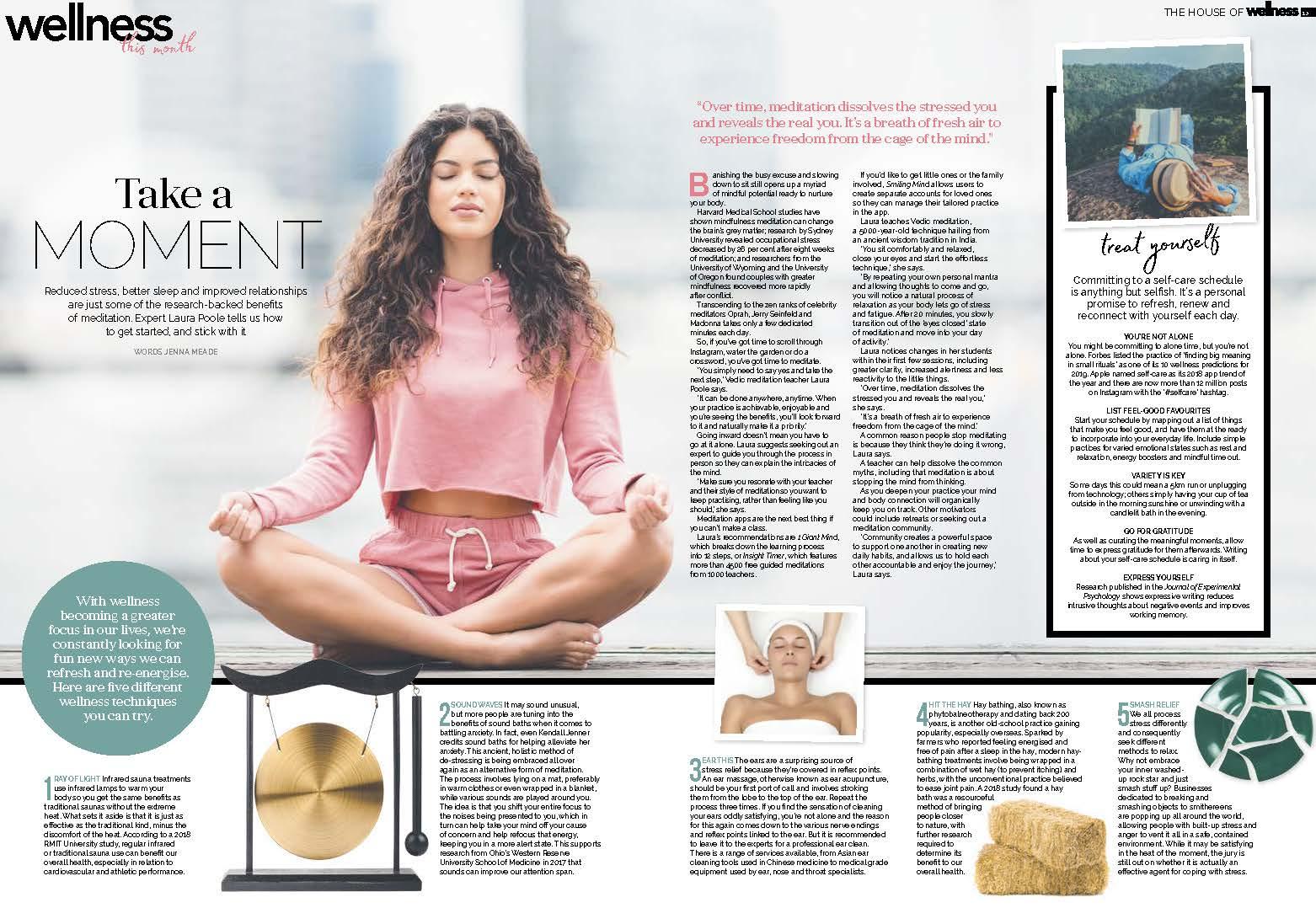 Laura Poole Vedic Meditation Wellness Article April 2019