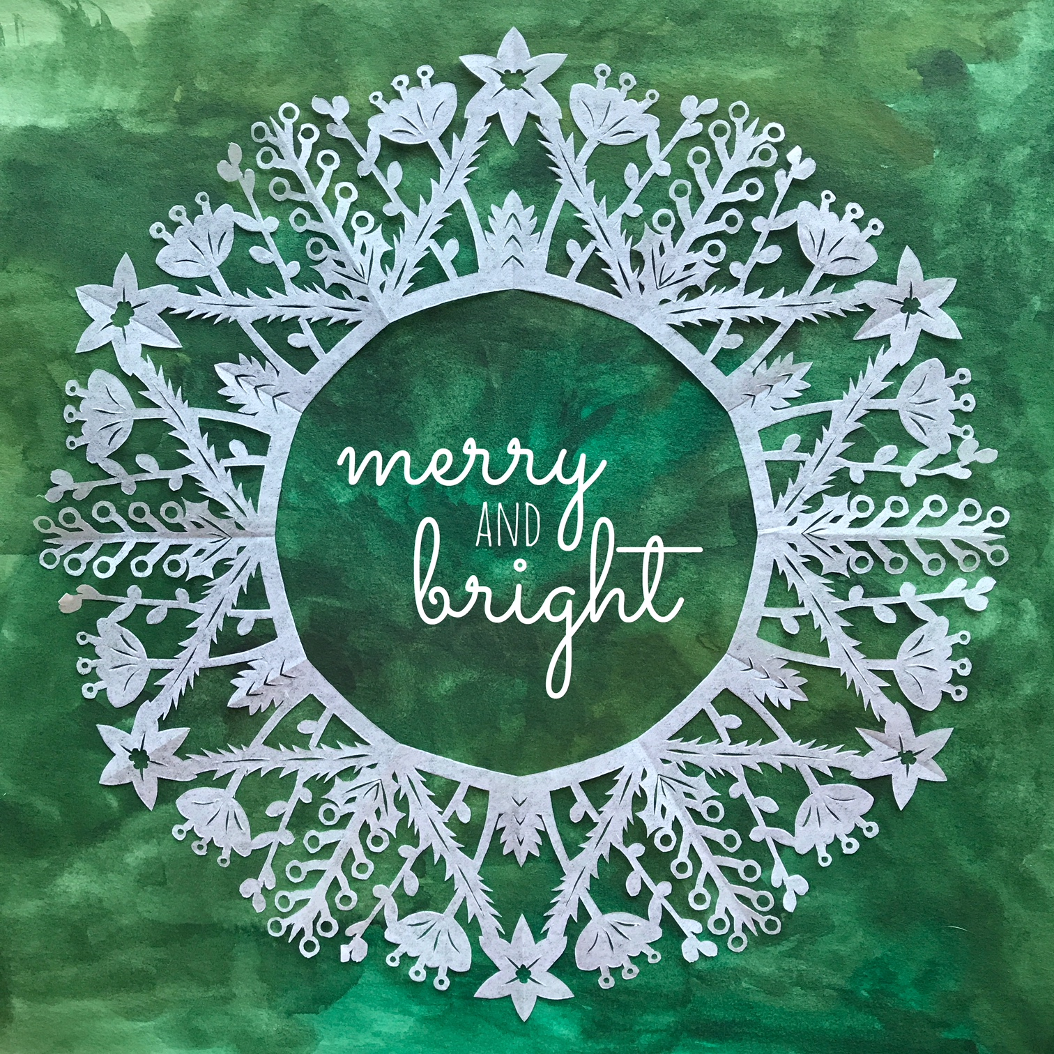 merry and bright paper snowflake