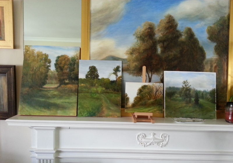 three oils on panel and far right one on paper