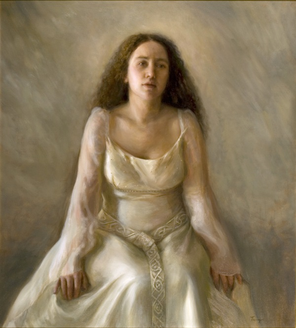 """The Bride""   I have titled this painting Ophelia, The Bride or Annunciation, but it really could bear many titles. I don't intellectualize my paintings while I work on them. I choose my subjects intuitively. Titles are slow in coming because I try not to anticipate where a painting will take me.  A young woman is seated alone in her wedding dress in an undefined space that can be past, present, or future- all of which tumble about in her mind. It is an iconographic moment. Anna, as The Bride, represents to me those times of struggle between the ideal and the real. She could be Mother Earth (Gaia), a struggling nation, or Mary at the Annunciation. It is the moment when we recognize the real has supplanted the ideal, when the real subverts all imagined ideals.  The painting measures 40x36 and is oil on linen canvas. Being sold in its current pictured frame or in an alternative. Inquire for delivery/shipping options.  Inquire for price"