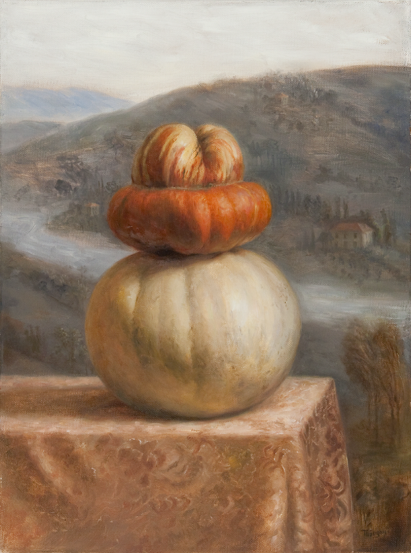 """Il Principe""   Il principe is Italian for The Prince. This painting, like its companion piece, is inspired by the story of Cinderella. The turban squash makes an inspiring and colorful crown for this princely pumpkin.  The painting is an original oil on linen canvas that measures 24""h x 18""w. In its espresso solid wood frame it measures 33""x 27"". Expert shipping and packing available.  $3,800 (please message me to ask questions or arrange purchase)"