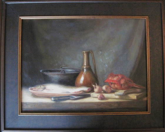 """Fish and Shallots"" 32""x 36"" in frame."