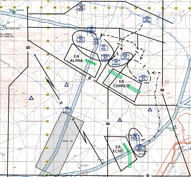 Figure 3 - ENCOA 3 - SBCT IN BN conducts area defense (heavy east)