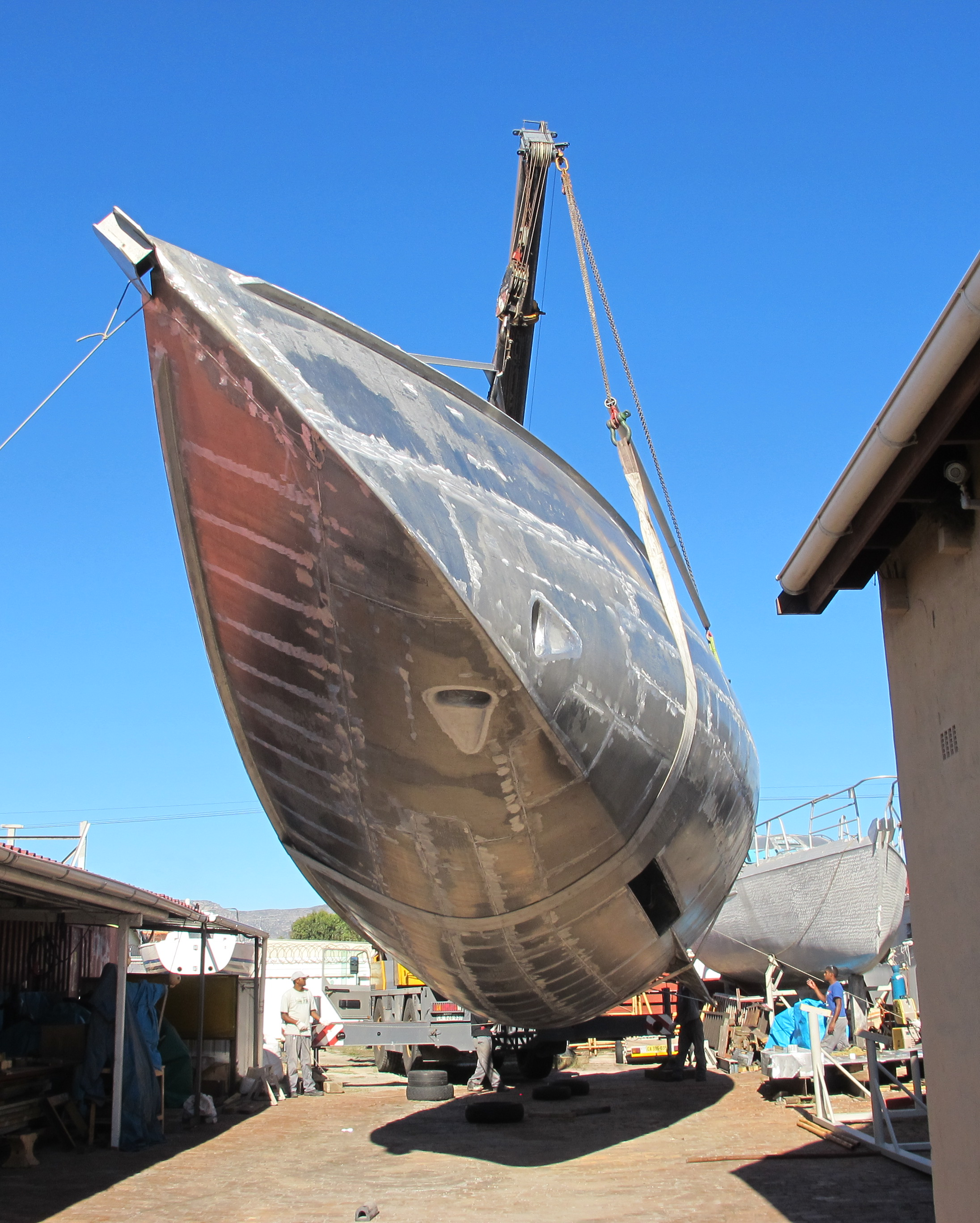 The hull of the latest Good Hope 56 is turned over.