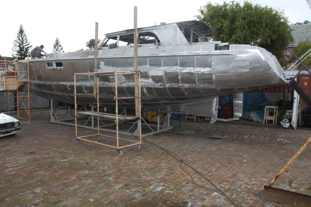 The handsome pilothouse of the Good Hope 56 takes shape.