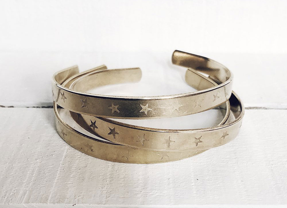 Handstamped Brass Cuffs -