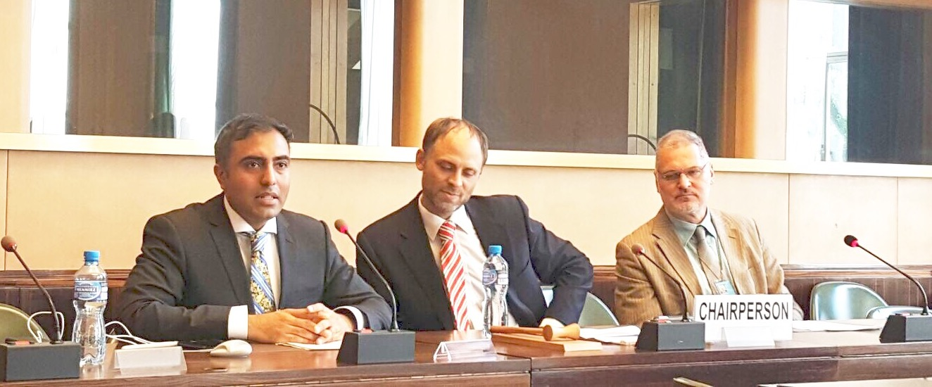 Inder Comar (left) provides a statement at the United Nations regarding the effect and purpose of the Trump Travel bans. Swiss lawyer Pierre Bayonet (center) and international human rights lawyer Dr. Curtis Doebbler (right).