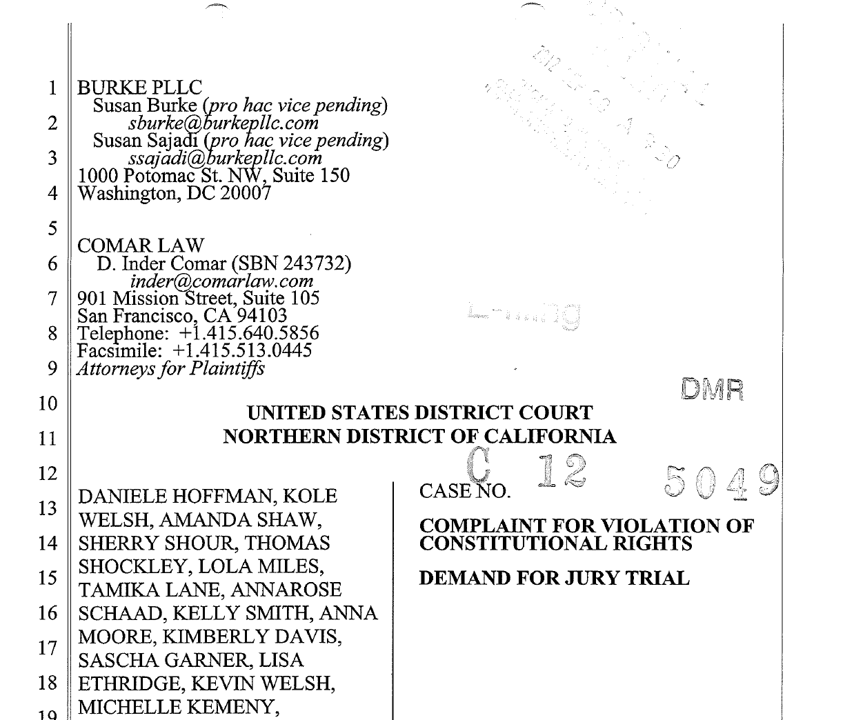 Read the Complaint filed in the Northern District of California -