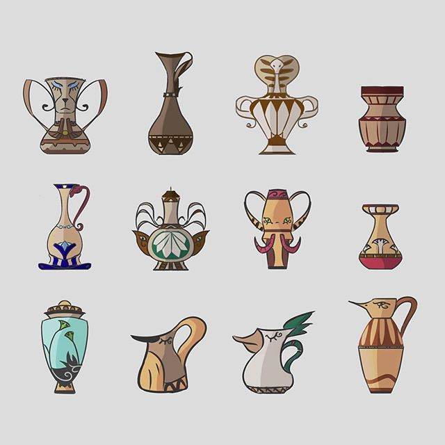 Egyptian Pot Designs! Ca you find the animals?! . . . #webcomic #bible #bookofmormon #conceptart #graphicnovel #comic #comics #illustration #drawing #instacool #anthro #lds #mormon #michaelmercerart #mikescrazyideas #fromthedust #pottery #pot