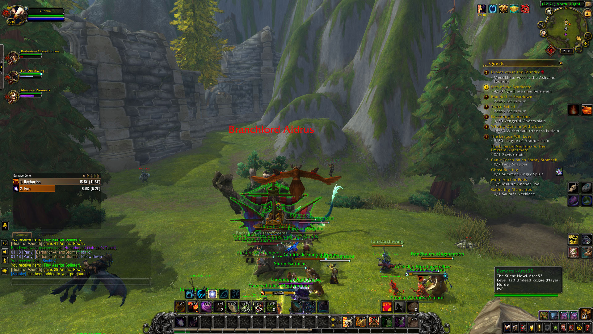 A magic moment when I ran into a ton of people questing and traveled with them for about 20 minutes.