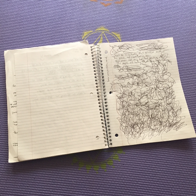 For me, release writing starts as traditional writing, and turns into shaking and scribbling.