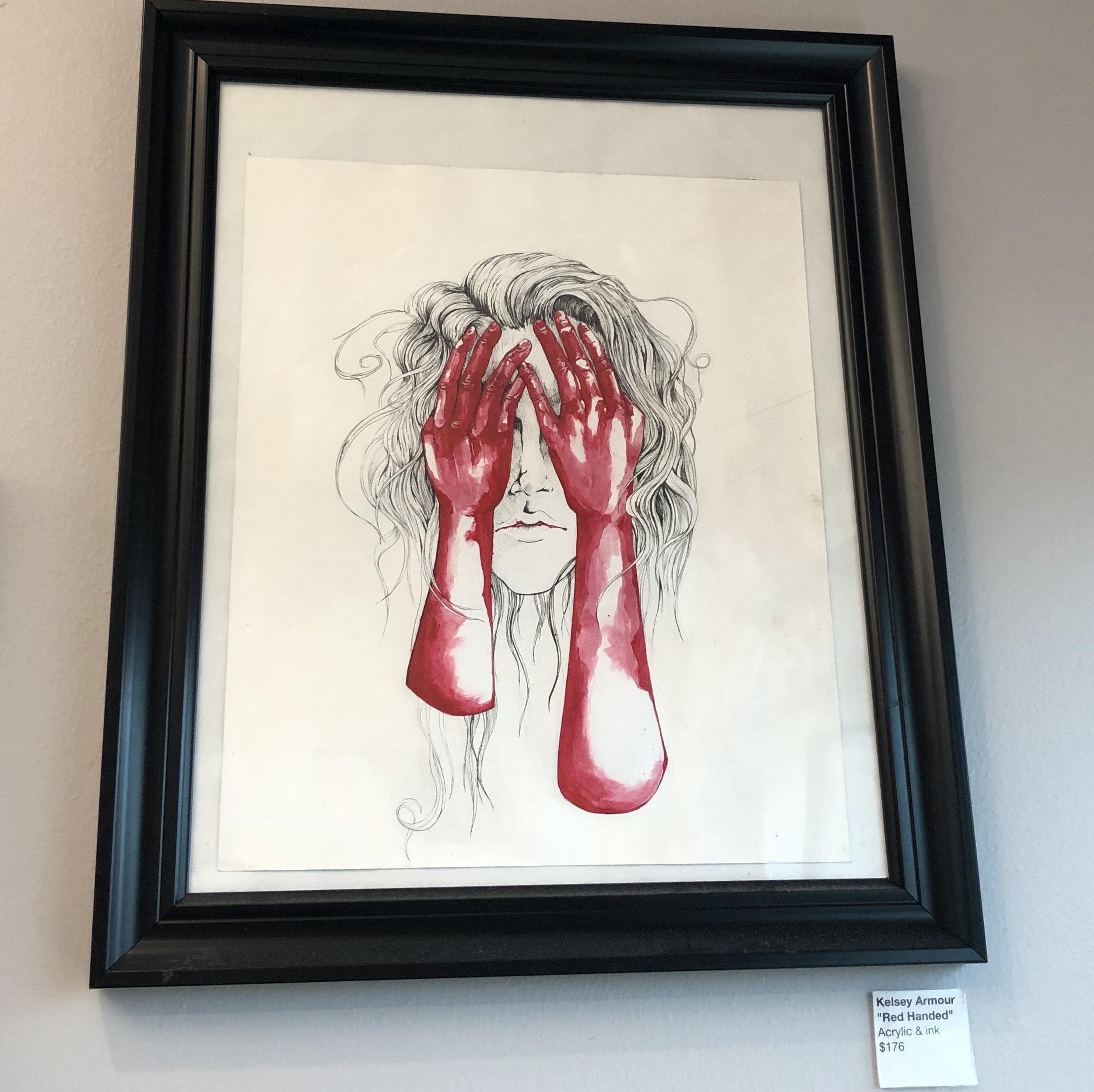 RED HANDED - ACRYLIC AND INK $176