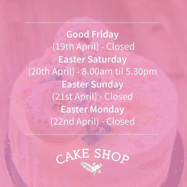 Please see our Easter trading hours! Whole Cakes, Italian and Greek Biscuits/Mini Desserts can be purchased daily from Espresso Organica throughout the Easter holiday period. #thecakeshop #concord #desserts #sydneyeats #sydneyfoodie #easter