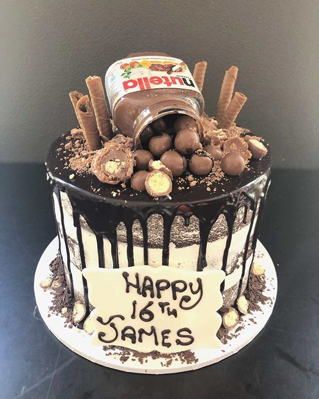 Happy 16th Birthday James. Hope you enjoyed your Nutella Chocolate Drizzle Cake #nutella #cakeShopConcord #chocolate