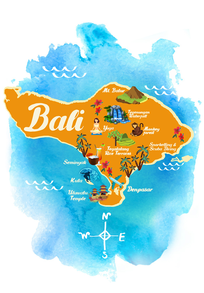 Bali Group Tour Map with Activities