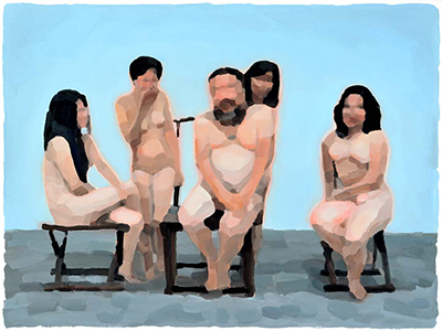 Ai Weiwei and four women N°2  97 x 130 cm, oil on canvas 2011-2012