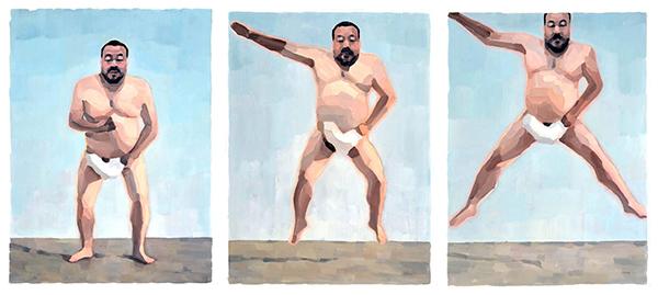 Ai Weiwei flying  triptych 130 x 300 cm, oil on canvas 2014