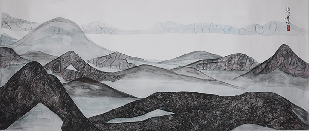 Feminine Landscape series, ink and color  on silver Xuan paper, 170X70cm, 2018