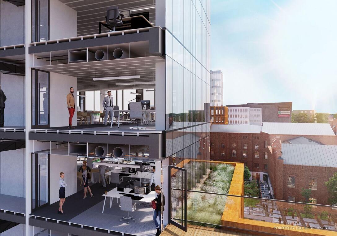 Standard biur - Wszystkie 3 budynki biurowe spełniają najwyższe standardy nowoczesnych przestrzeni do pracy. Są budynkami zielonymi spełniającymi wymogi certyfikacji Breeam.