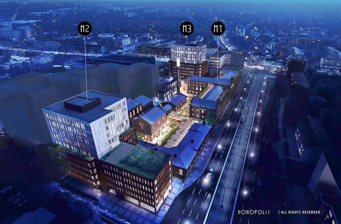 Park Biurowy - MONOPOLIS to wyjątkowa koncepcja oparta na scaleniu architektury historycznej z architekturą współczesną, powiązaniu sfery biznesowej z kulturalną. Projekt wpisuje się doskonale w założenia – nowoczesność, wielofunkcyjność, a także stworzenie wyjątkowego miejsca do pracy.