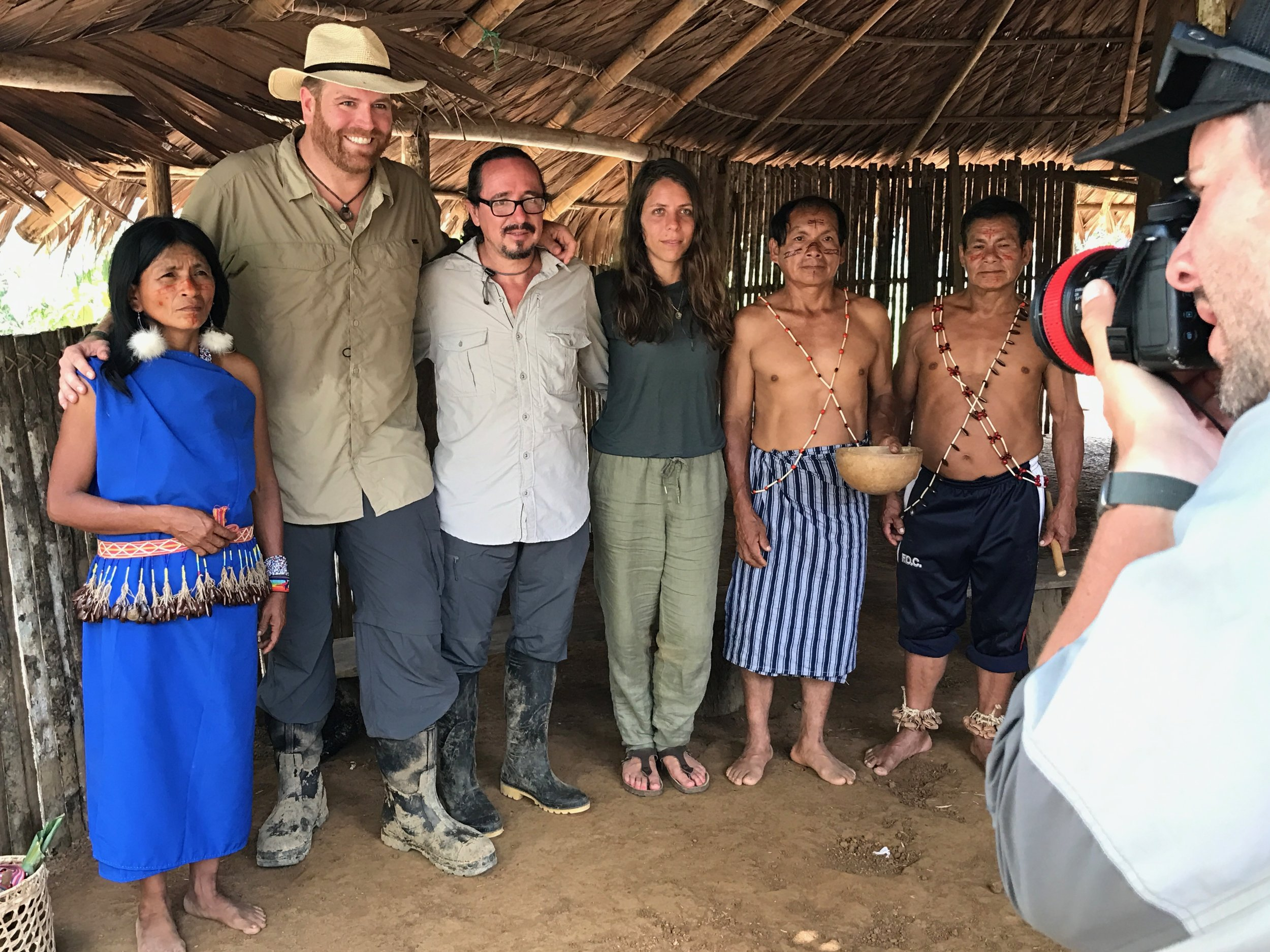 Filming for Expedition Unknown, photo features Shuar Tribe Elders, Josh Gates and archaeologist Florencio Delgado