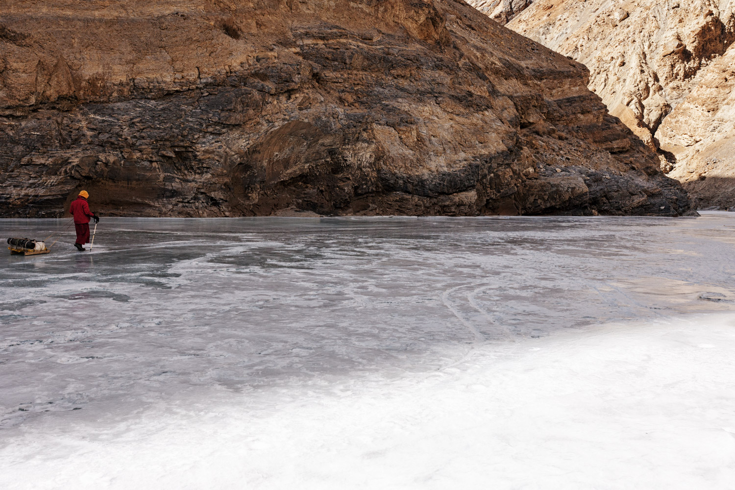 Ladakh. The Zanskar river during winter is frozen. It is the only way back to the capital from the valley of Zanskar.