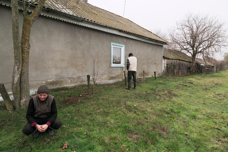 Letea, Romania,November 2017. Two farmers in the town of Letea, north of Sulina on the region of the Danube delta.
