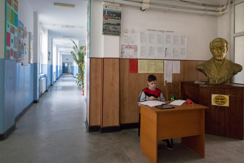 Sulina, Romania,November 2017. Inside the school.