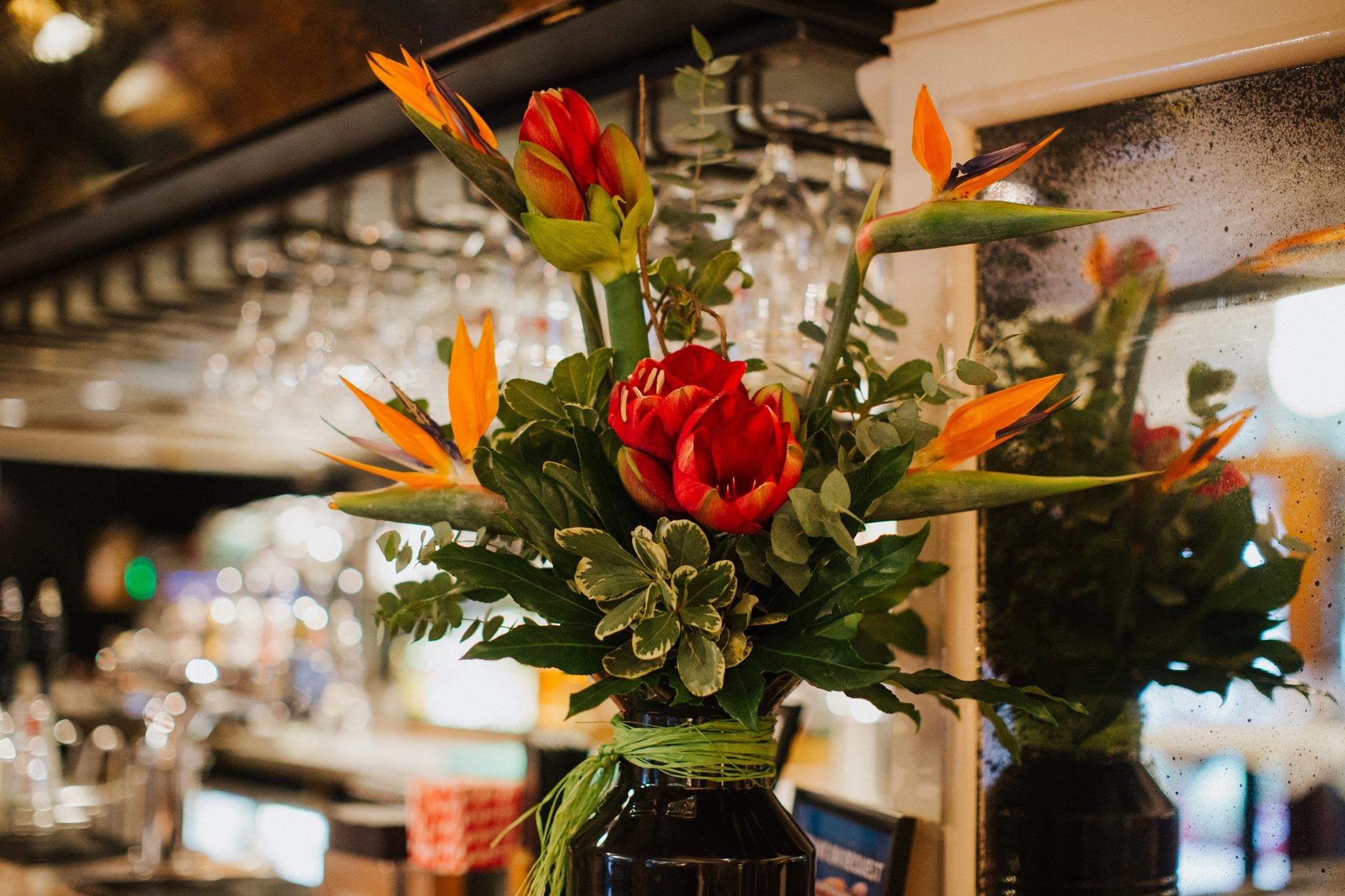 Flowers on the bar at The Globe pub, restaurant and hotel in Warwick.jpg