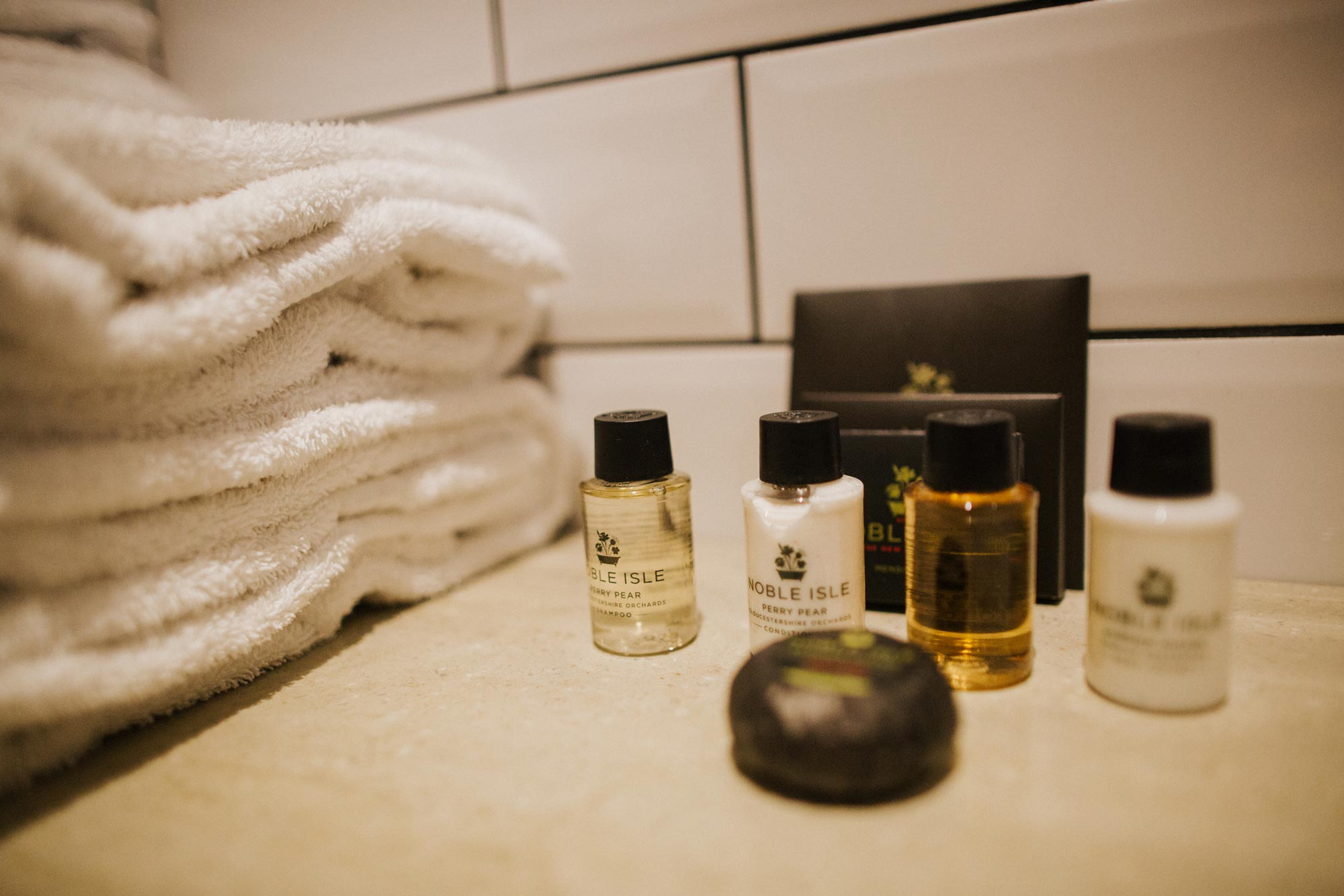 Noble Isle products in the hotel room at The Globe in Warwick.jpg