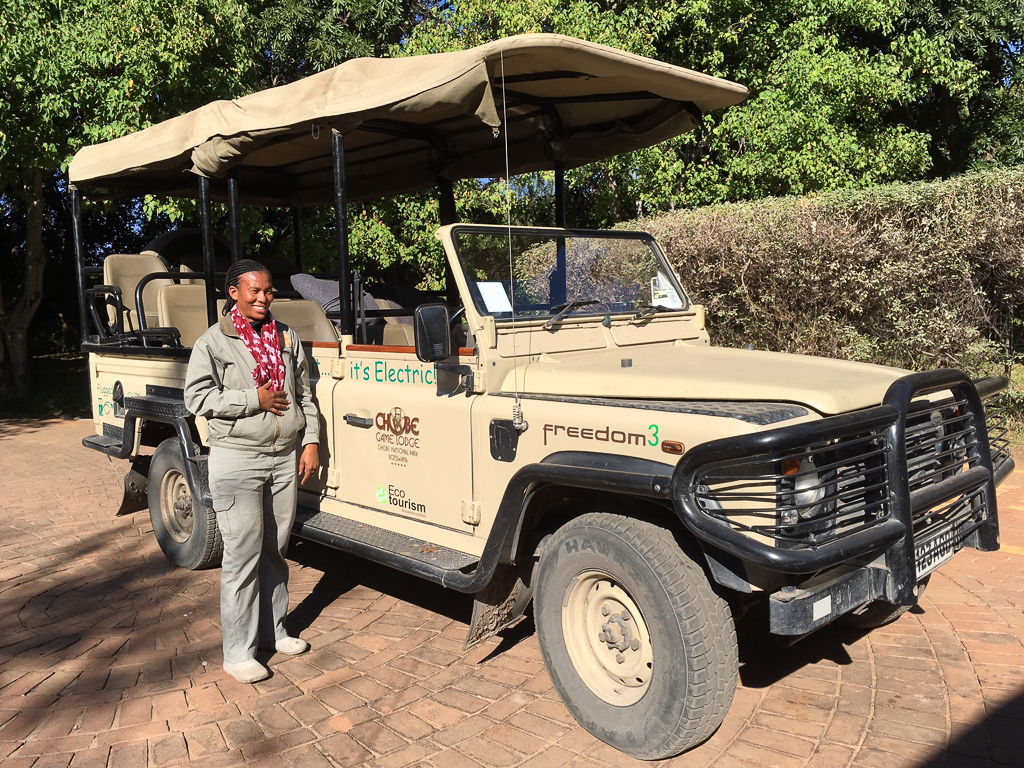 Chobe Game Lodge Electric Safari Vehicle, part of an all electric fleet that includes two solar powered electric boats