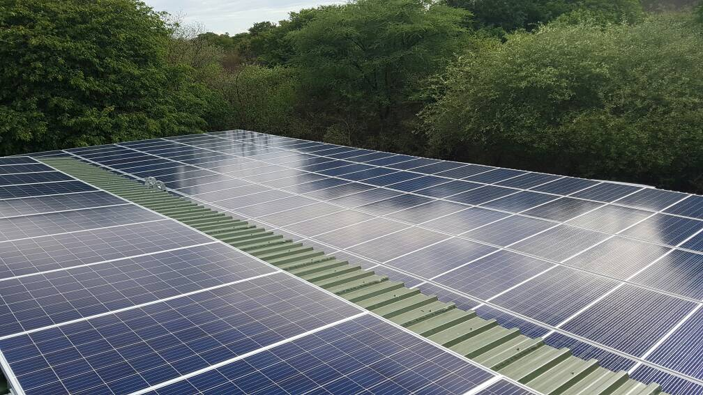 93kWp grid tied solar pv system installed by Widowbird Solar at Chobe Game Lodge
