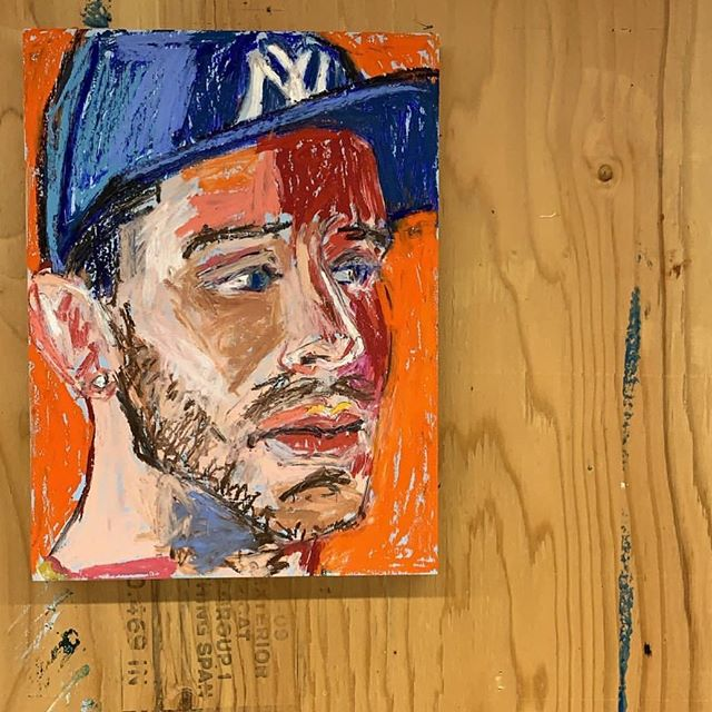 Tyrrell portrait at the Macedonia Institute in March. Oil pastel on wood