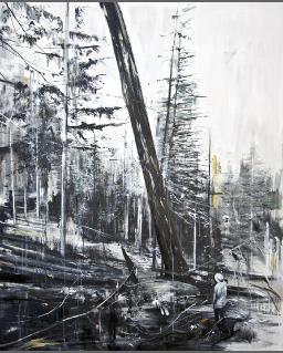 Calum McClure - Falling Tree  2012 170 x 122cms, oil on board.