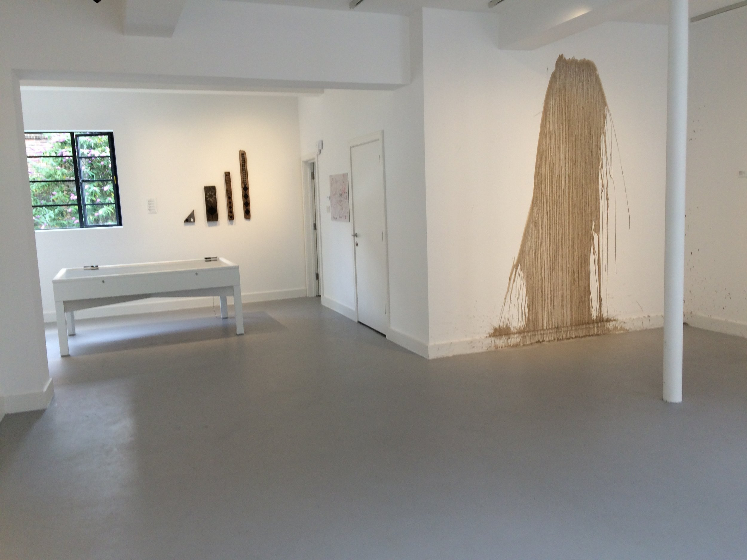 Richard Long, Great Ouse Mud Drawing 2016 in situ, GroundWork Gallery, Sunlight and Gravity.  Photo by Steve Jackson
