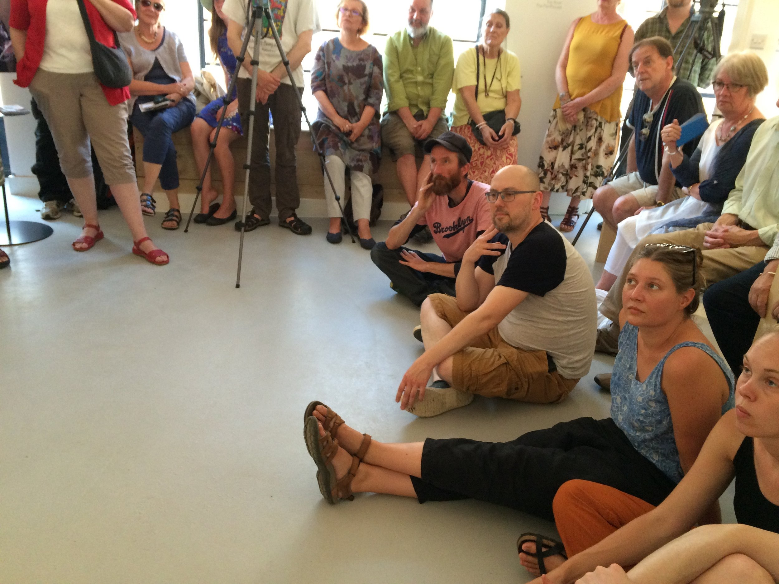 Sitting at the feet of Richard Long. Artists at a GroundWork Gallery Talks event.
