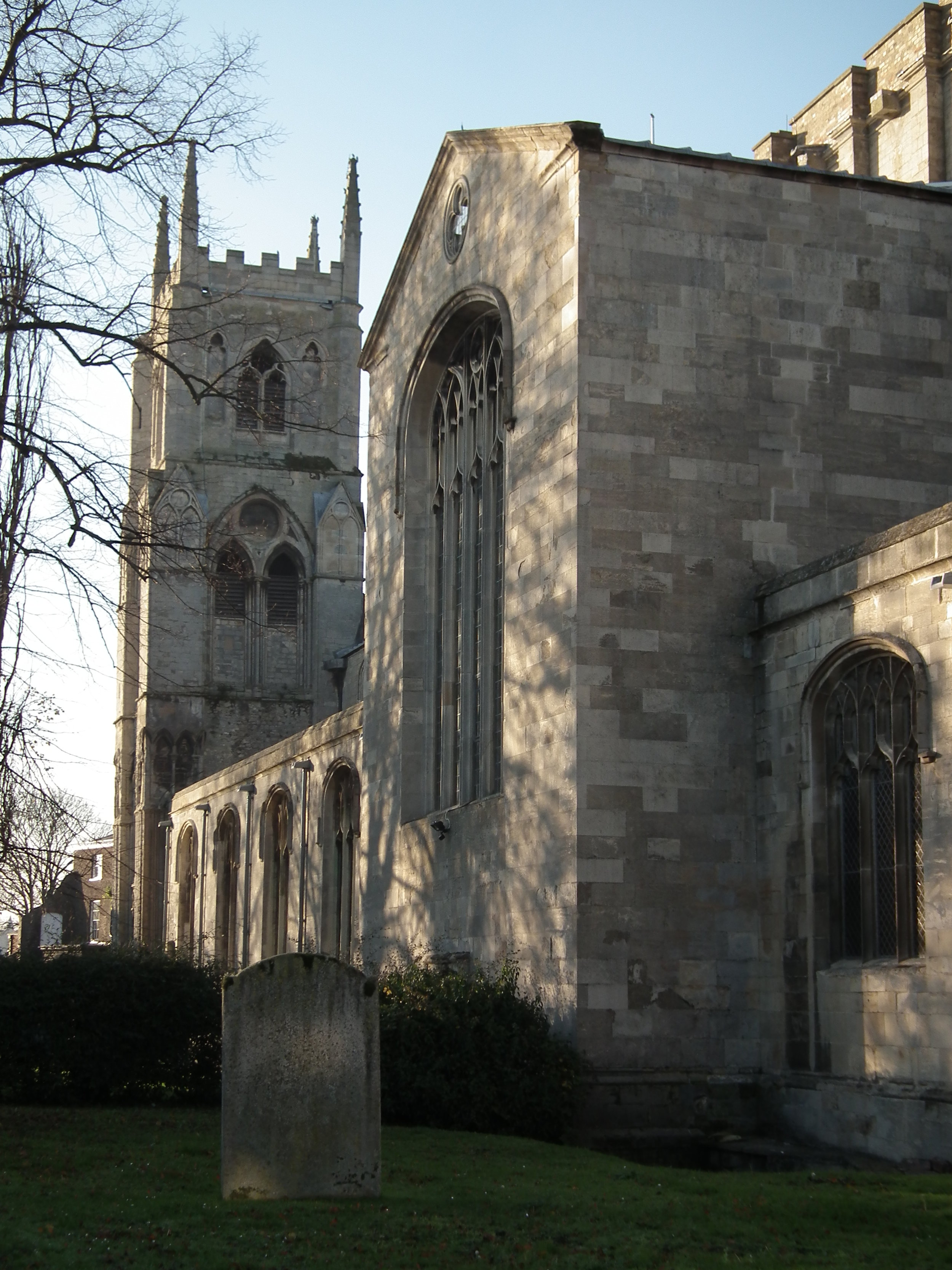 St Margaret's Church showing smooth cut limestone wall surfaces