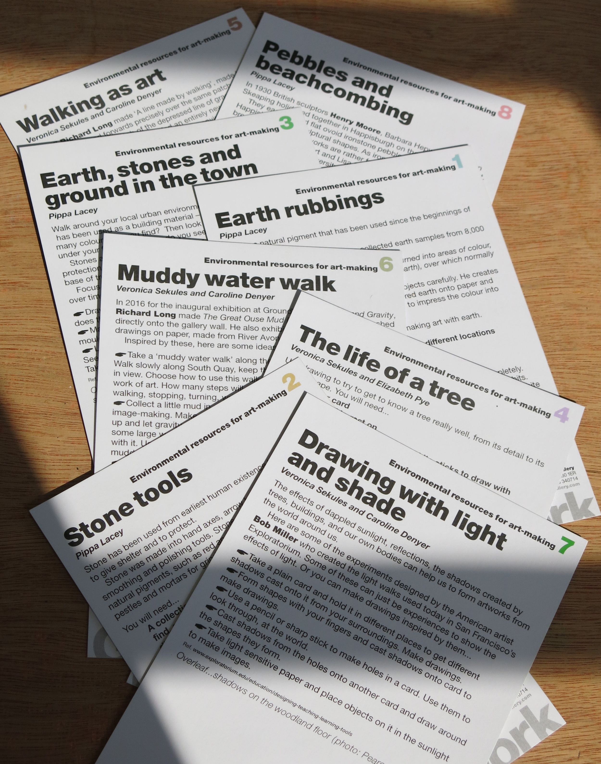 The texts for the first education pack. These will be used as starting points to develop new approaches to the environment through art.