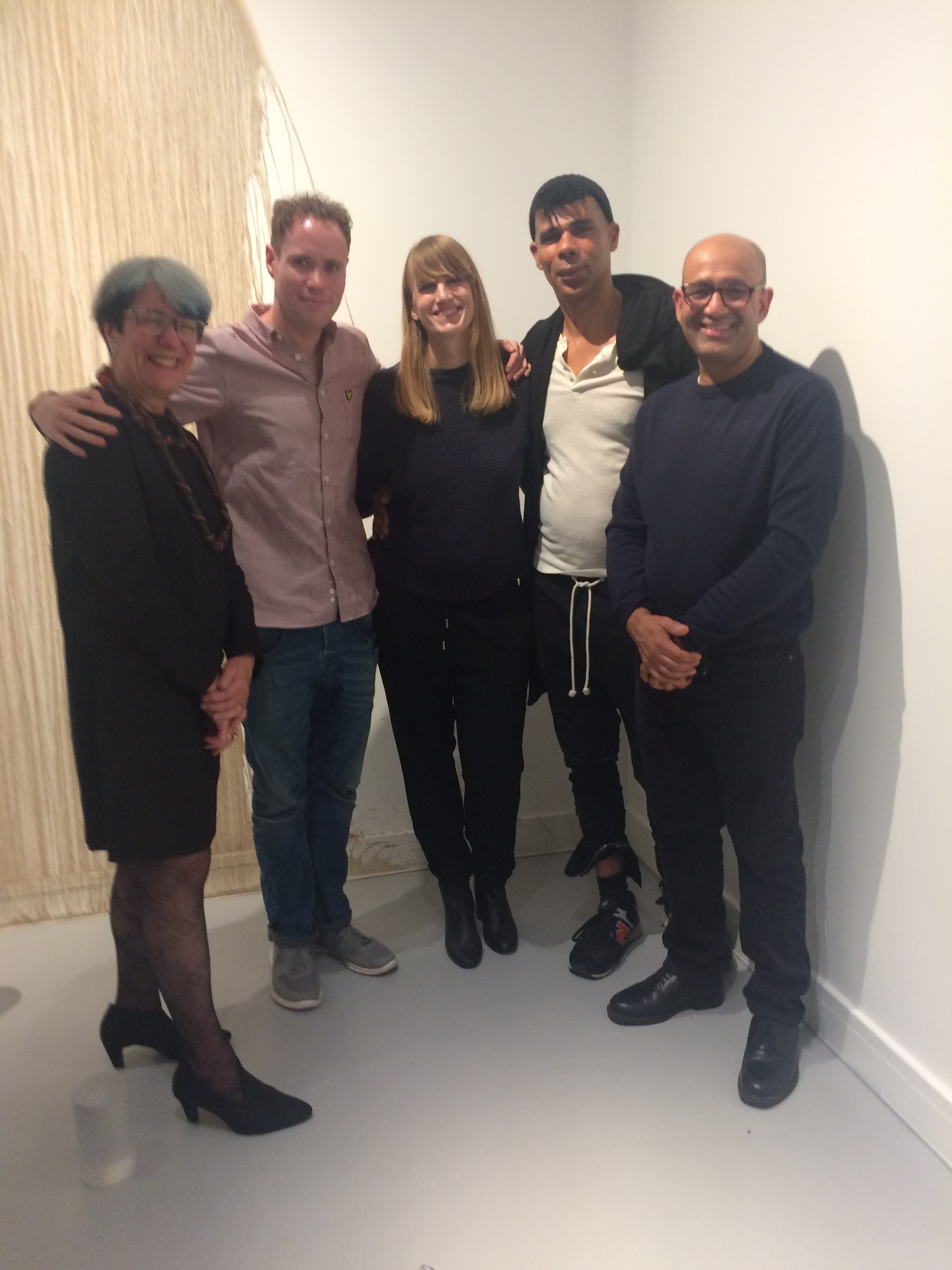 Opening night, left to right, Veronica Sekules, Shaun Fraser, Flora Bowden, Wayne Binitie, Kabir Hussain