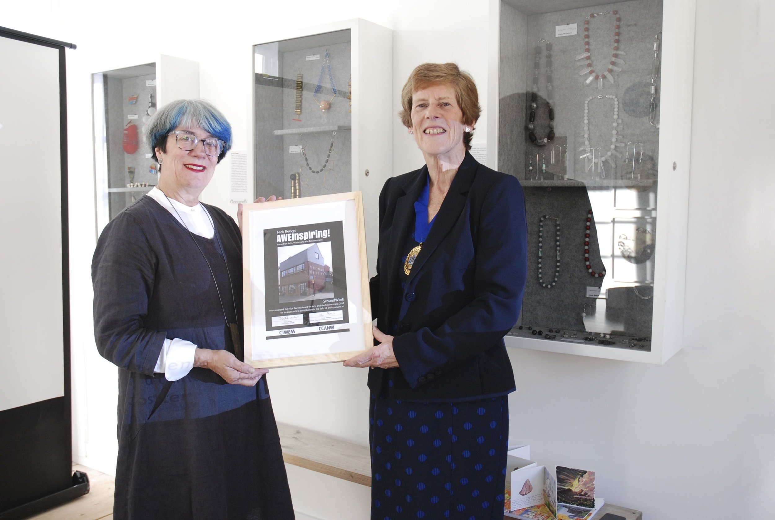 Dr Veronica Sekules, Director of GroundWork Gallery receiving the Nick Reeves Award from Angela Gray, President of CIWEM
