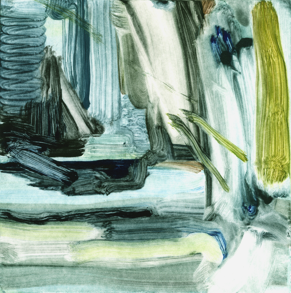 Calum McClure, Deluge and Branches, Monotype, 2017, 17.5 x 17.5,