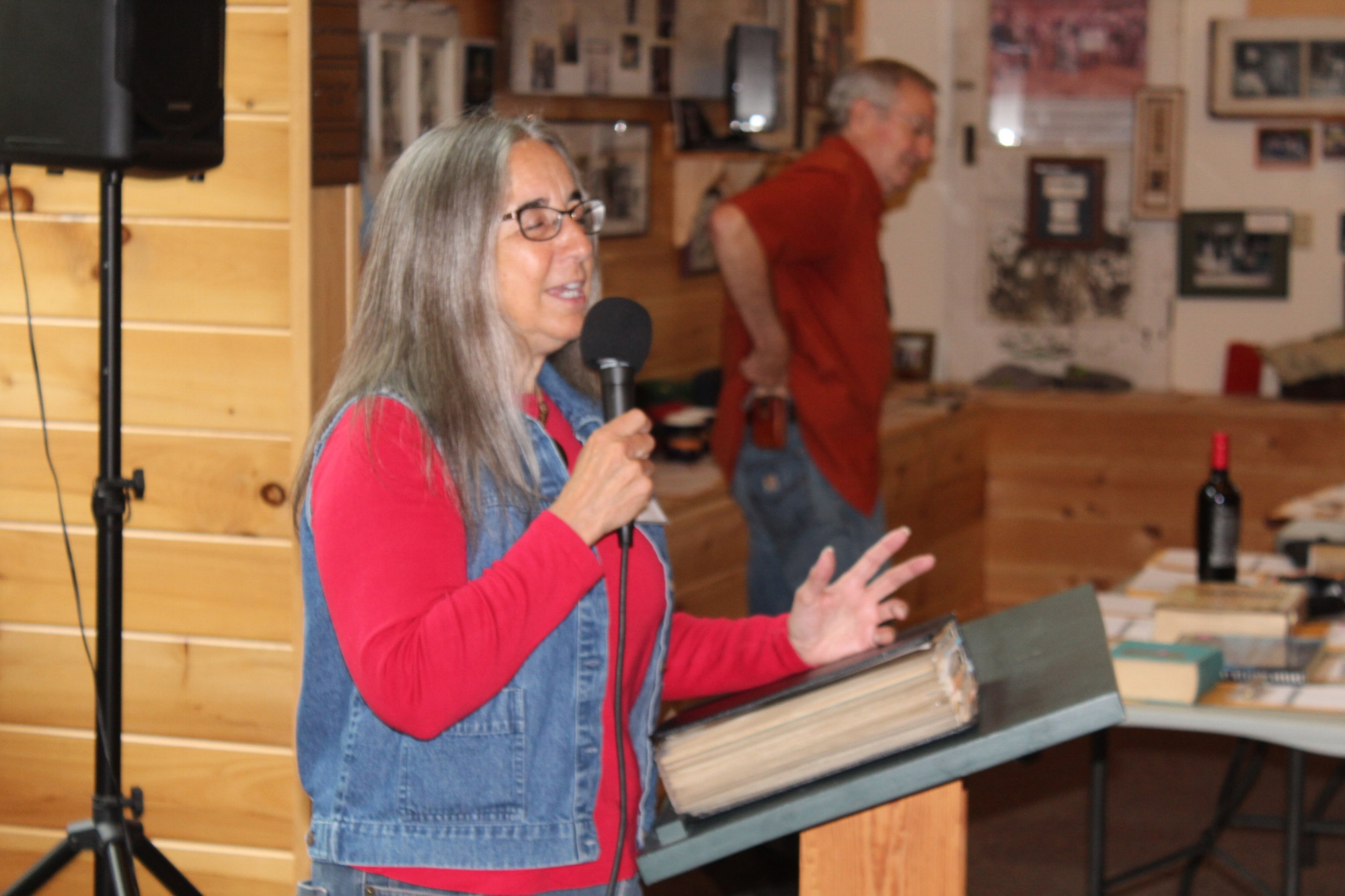Kathy Scott talks about her book, The Letters to Everett Garrison, at the 24th annual Catskill Rodmakers Gathering, which drew more than 100 enthusiastic rod builders to the Catskill Fly Fishing Center & Museum Sept. 7-9. Scott's book on the legendary rod maker is available at the CFFCM book shop, and an interview with Scott will be posted at  cffcm.com .