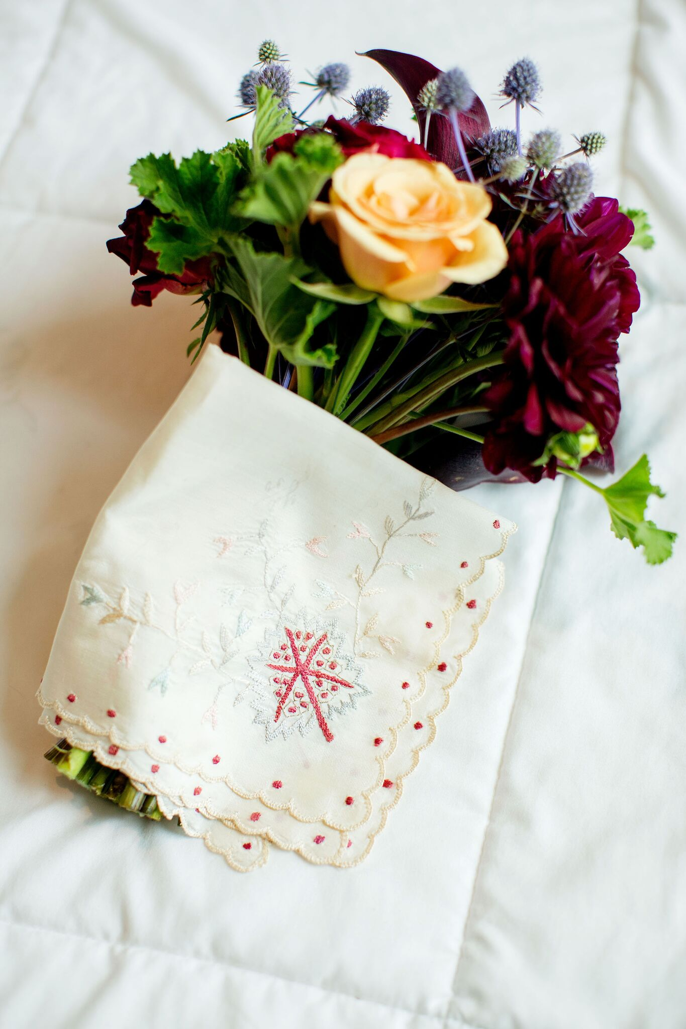 embroidered bridal handkerchief and jewel toned bouquet   Brides Handkerchief   Planning By Wrap It Up Parties