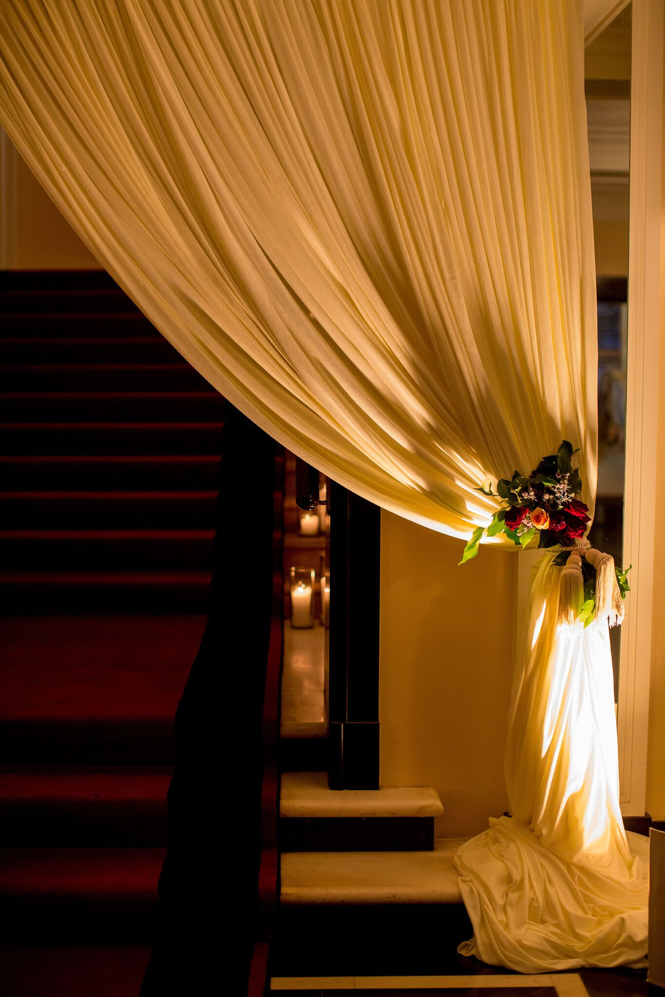 Candle lit reception entrance   Draped Reception Entrance   Planning By Wrap It Up Parties