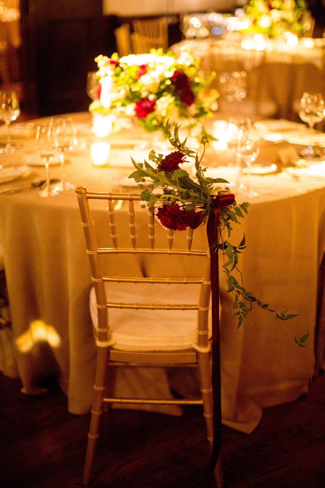 Red rose reception chair decoration  Planning By Wrap It Up Parties