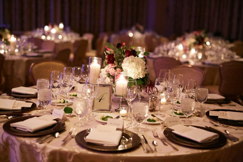 Red and White Table Setting