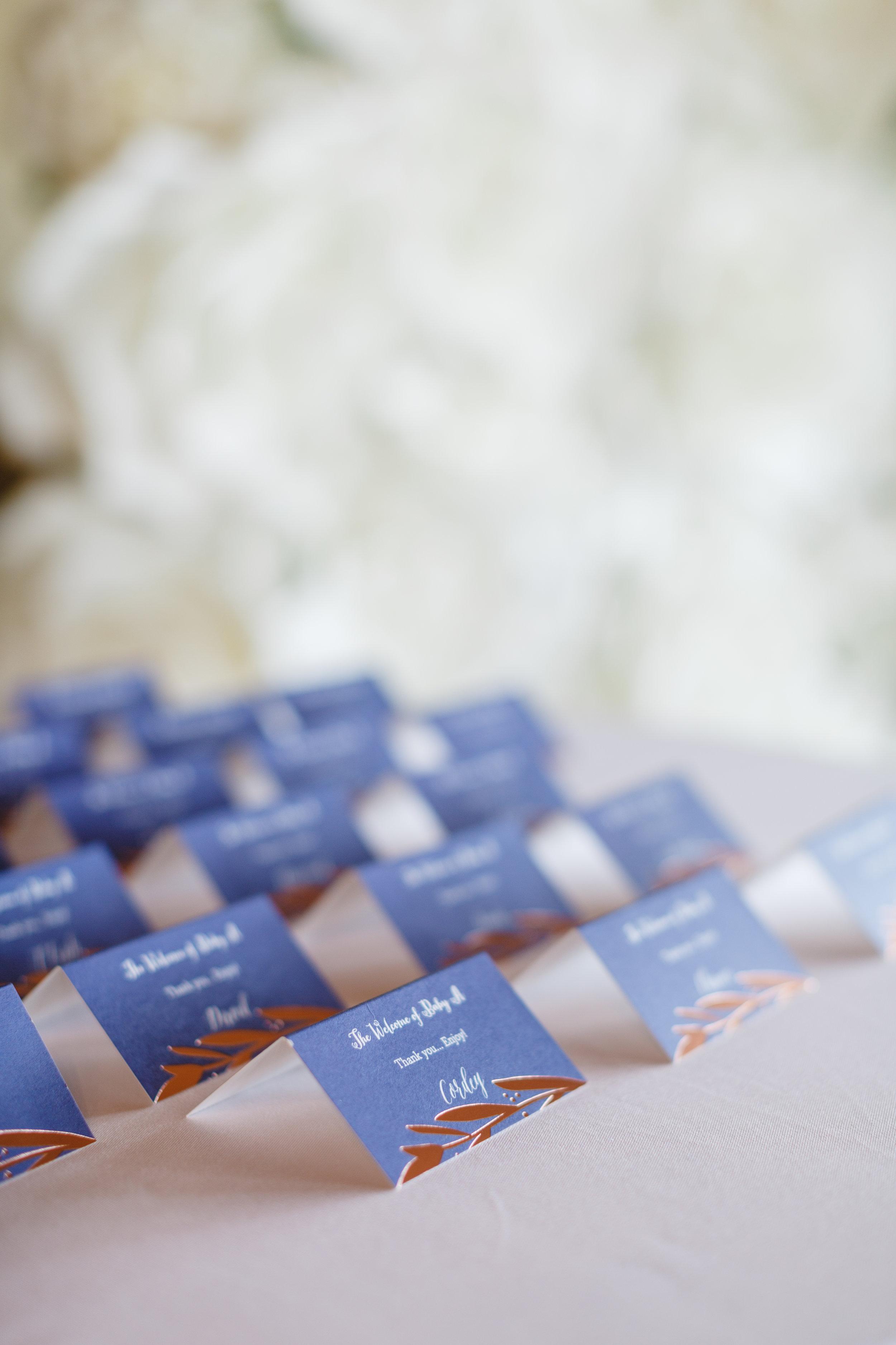 Blue escort Cards