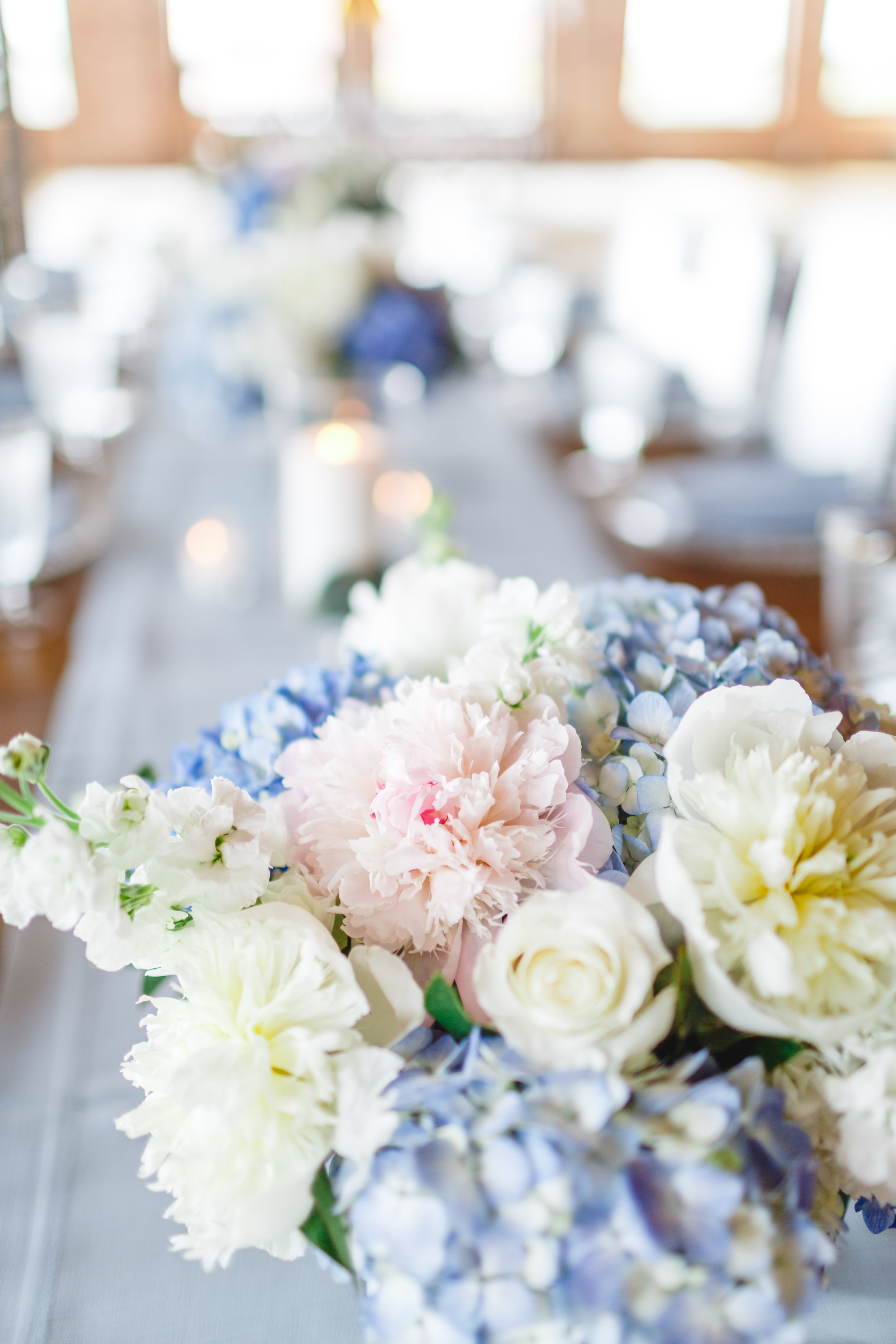 White Roses and Blue Hydrangea