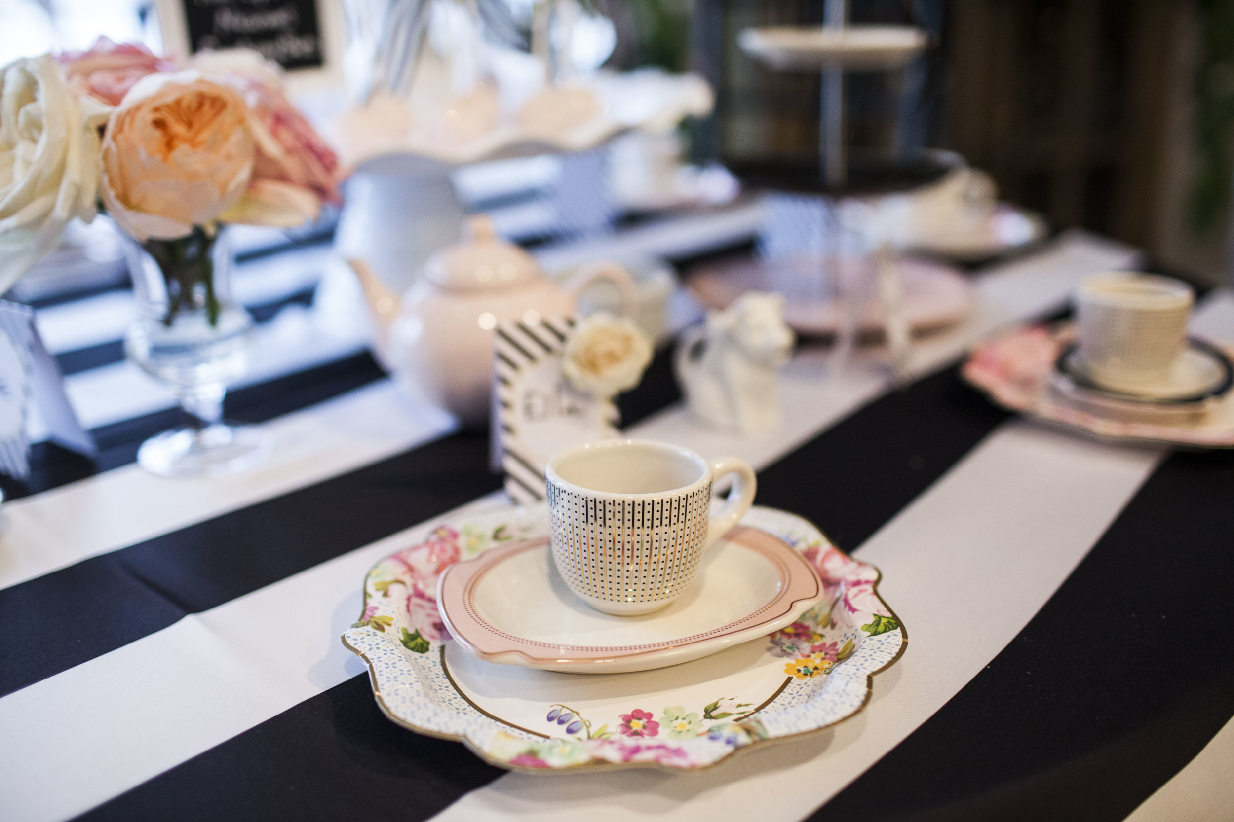 tea party table setting, girls tea party, birthday party, Wrap It Up Parties